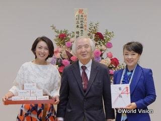 WVJ設立30周年記念石けん贈呈式の様子