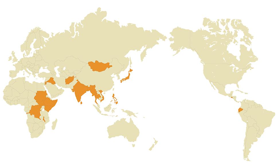 政府・国連などとの連携、募金による支援国