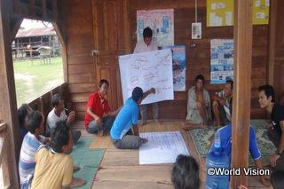 2015年5月、地域の住民組織メンバーと話し合い、村にある材料を使って地域を改善する  ための計画を立てました