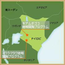 ケニアの地図と支援地