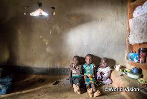ザンビアの貧困家庭の兄弟が家の中で座っています。