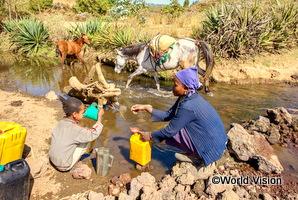 エチオピアの親子が川から水を汲んでいる