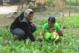 【ビルゴンジ地域】「研修で家庭菜園での野菜の育て方を学びました。ワールド・ビジョンからは種子の提供を受け、ときどき訪問指導もしてくれるので、世話の仕方がよくわかります。」 アルビナさん(農業研修の参加者)