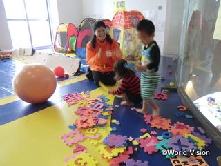 避難所で運営している子どものためのスペース