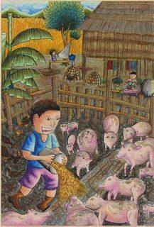 ケオラッダーちゃんが描いた絵「豚のこと」