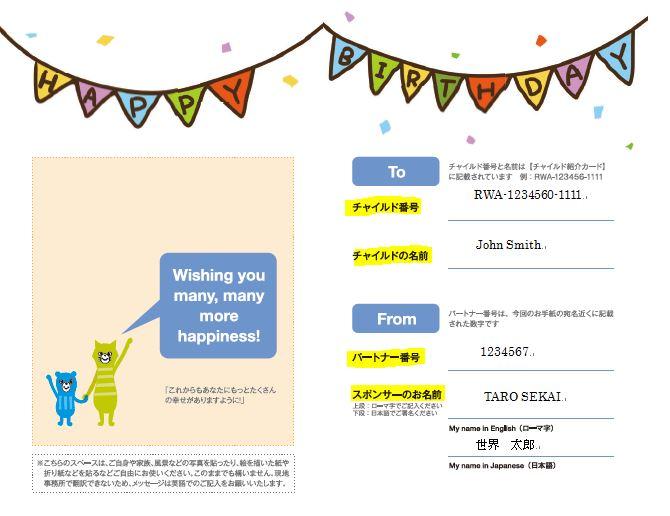 誕生日カードの記入例
