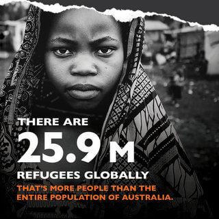 世界の難民の数は約2,590万人。その数は、オーストラリアの人口よりも多い
