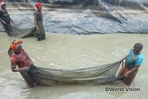 ワールド・ビジョンの支援による魚の養殖