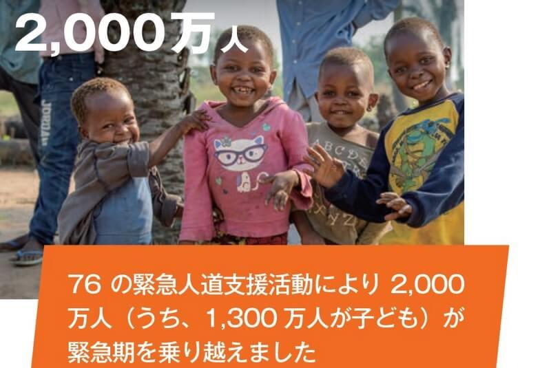 76の緊急人道支援活動により2,000万人(うち、1,300 万人が子ども)が緊急期を乗り越えました