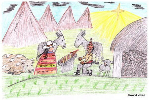 ナラバ君(15歳)が描いたボリビア版の聖誕劇